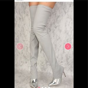Sexy Thigh high OTK silver gray mirror boots Sz 9